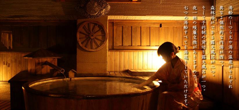 湯船のしつらえや湯の温度がそれぞれ異なる個性的な内湯が四つ。森林浴ができる露天風呂が二つ。そして予約制の貸切り露天風呂が一つ。夜一回の暖簾交換がありますので、七つの湯船すべてを湯巡りしていただけます。